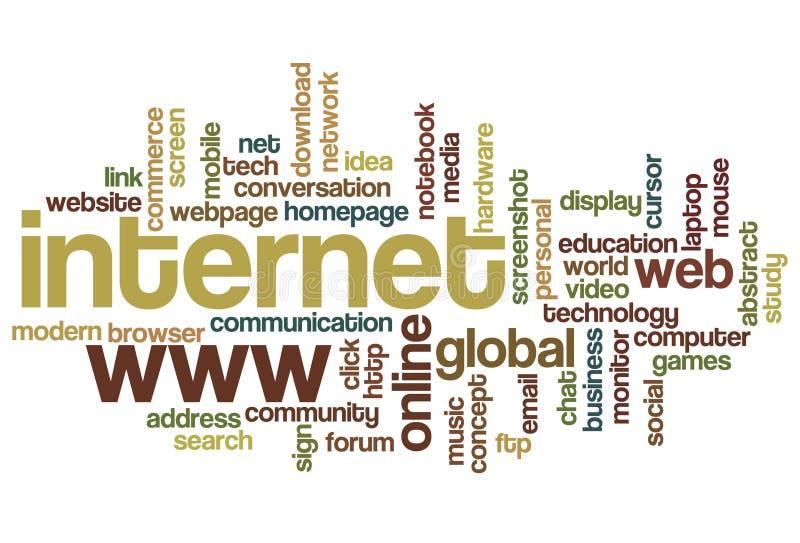 Internet - nuvem da palavra ilustração do vetor