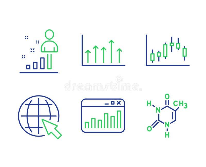 Internet och att marknadsföra statistik- och ljusstakegrafsymbolsuppsättningen Tillväxtdiagram, statistik och tecken för kemisk f royaltyfri illustrationer