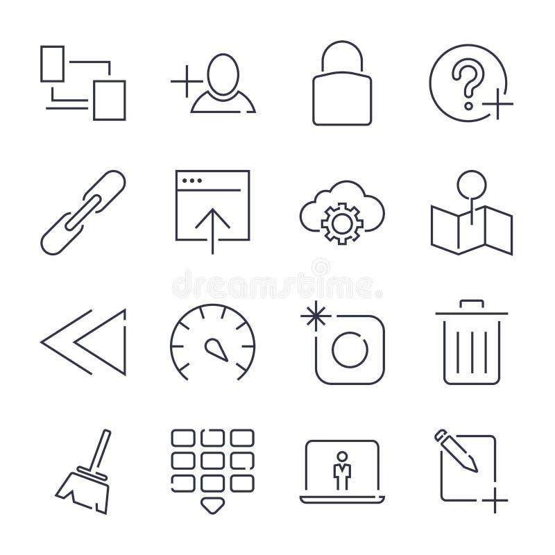 Internet- och IT-internetteknologi Universella symboler f?r reng?ringsduk, royaltyfri illustrationer