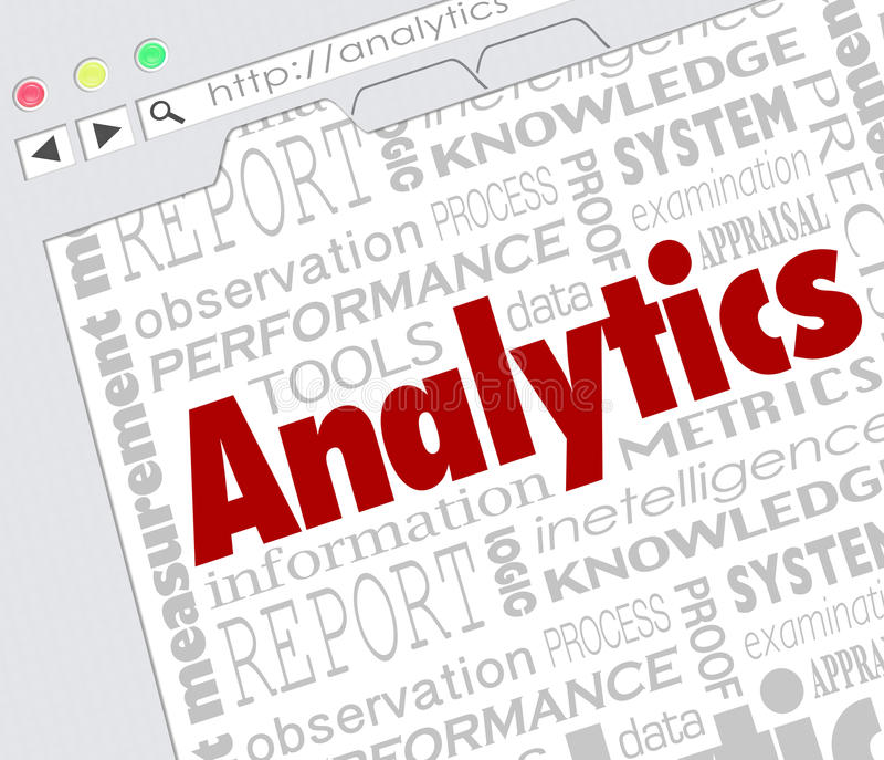 Internet online del sito Web di analisi dei dati foggia i risultati della misura illustrazione di stock