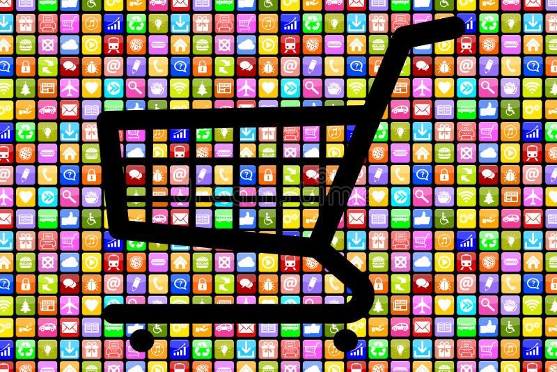 Internet online s di commercio elettronico di ordine di acquisto di Apps App di applicazione fotografia stock libera da diritti