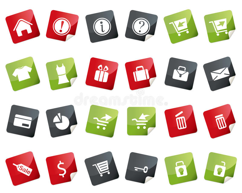 Internet and Online Shopping Icon Set. Tag and Lab stock illustration
