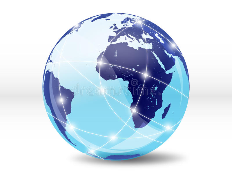 Internet, online world. Internet online with the rest of the world royalty free illustration
