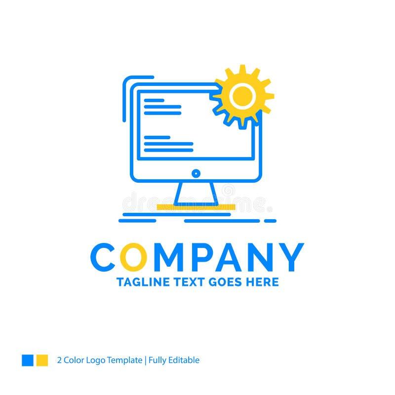 Internet orientering, sida, plats, statisk blå gul affärslogo t stock illustrationer
