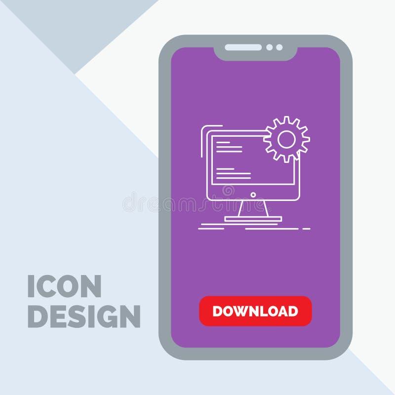 Internet orientering, sida, plats, statisk linje symbol i mobilen för nedladdningsida stock illustrationer