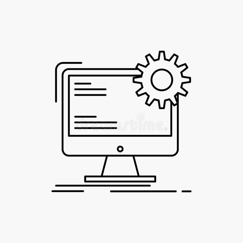 Internet orientering, sida, plats, statisk linje symbol Vektor isolerad illustration royaltyfri illustrationer