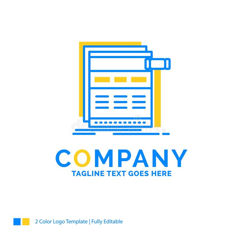 Internet, page, web, webpage, wireframe Blue Yellow Business Log. O template. Creative Design Template Place for Tagline vector illustration