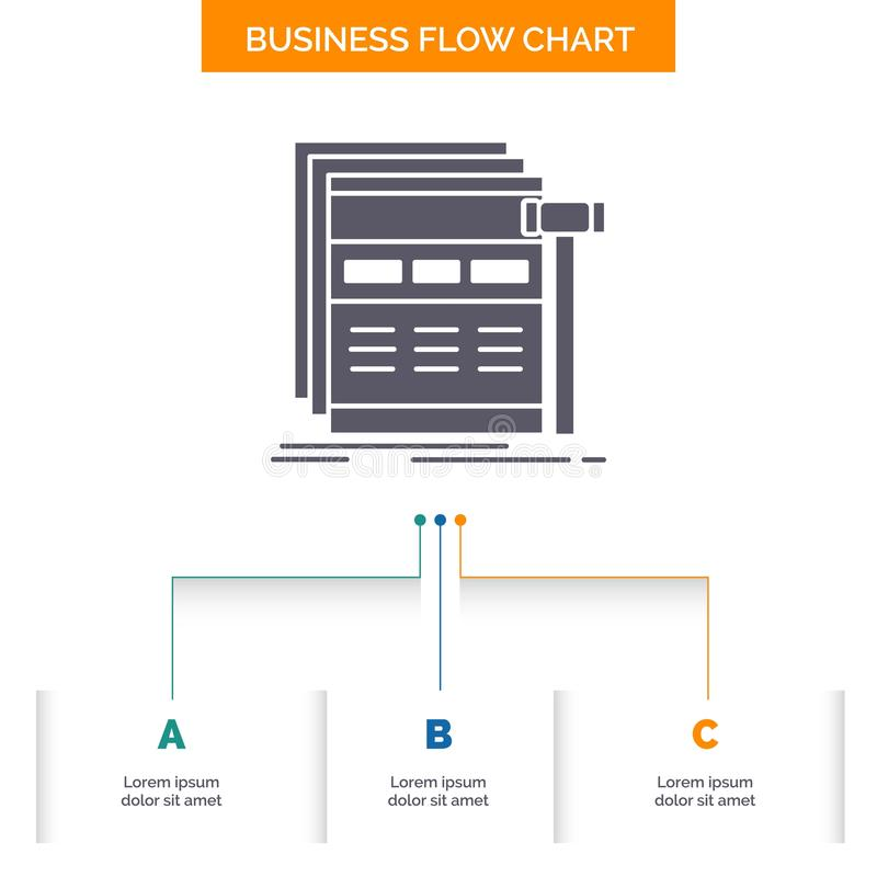 Internet, page, web, webpage, wireframe Business Flow Chart Design with 3 Steps. Glyph Icon For Presentation Background Template. Place for text.. Vector EPS10 royalty free illustration
