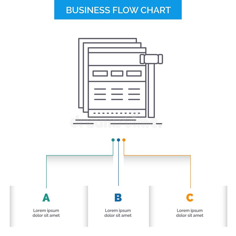 Internet, page, web, webpage, wireframe Business Flow Chart Design with 3 Steps. Line Icon For Presentation Background Template. Place for text. Vector EPS10 vector illustration