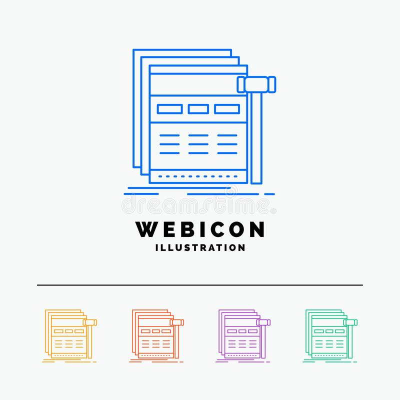Internet, page, web, webpage, wireframe 5 Color Line Web Icon Template isolated on white. Vector illustration. Vector EPS10 Abstract Template background royalty free illustration