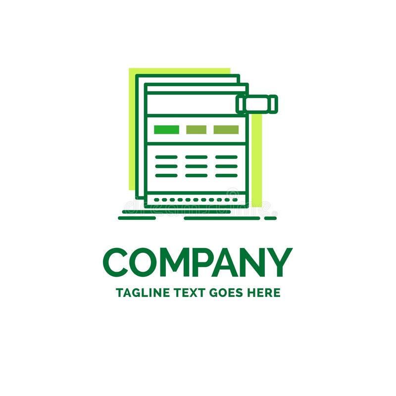 Internet, page, web, webpage, wireframe Flat Business Logo templ. Ate. Creative Green Brand Name Design vector illustration
