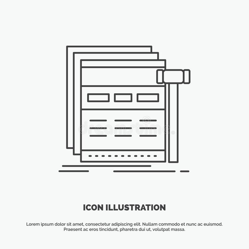 Internet, page, web, webpage, wireframe Icon. Line vector gray symbol for UI and UX, website or mobile application. Vector EPS10 Abstract Template background vector illustration