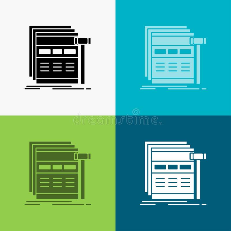 Internet, page, web, webpage, wireframe Icon Over Various Background. glyph style design, designed for web and app. Eps 10 vector. Illustration. Vector EPS10 vector illustration