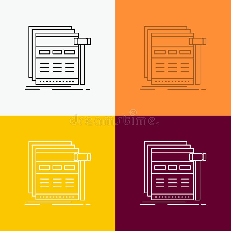 Internet, page, web, webpage, wireframe Icon Over Various Background. Line style design, designed for web and app. Eps 10 vector. Illustration. Vector EPS10 royalty free illustration