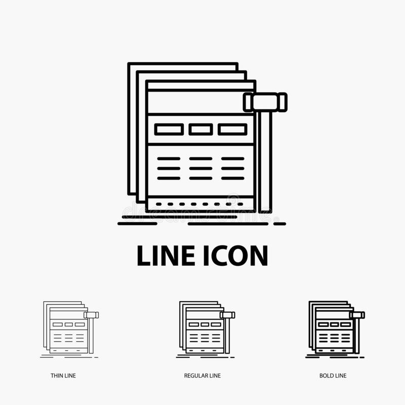 Internet, page, web, webpage, wireframe Icon in Thin, Regular and Bold Line Style. Vector illustration royalty free illustration