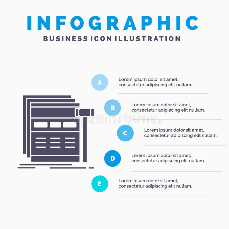 Internet, page, web, webpage, wireframe Infographics Template for Website and Presentation. GLyph Gray icon with Blue infographic. Style vector illustration vector illustration