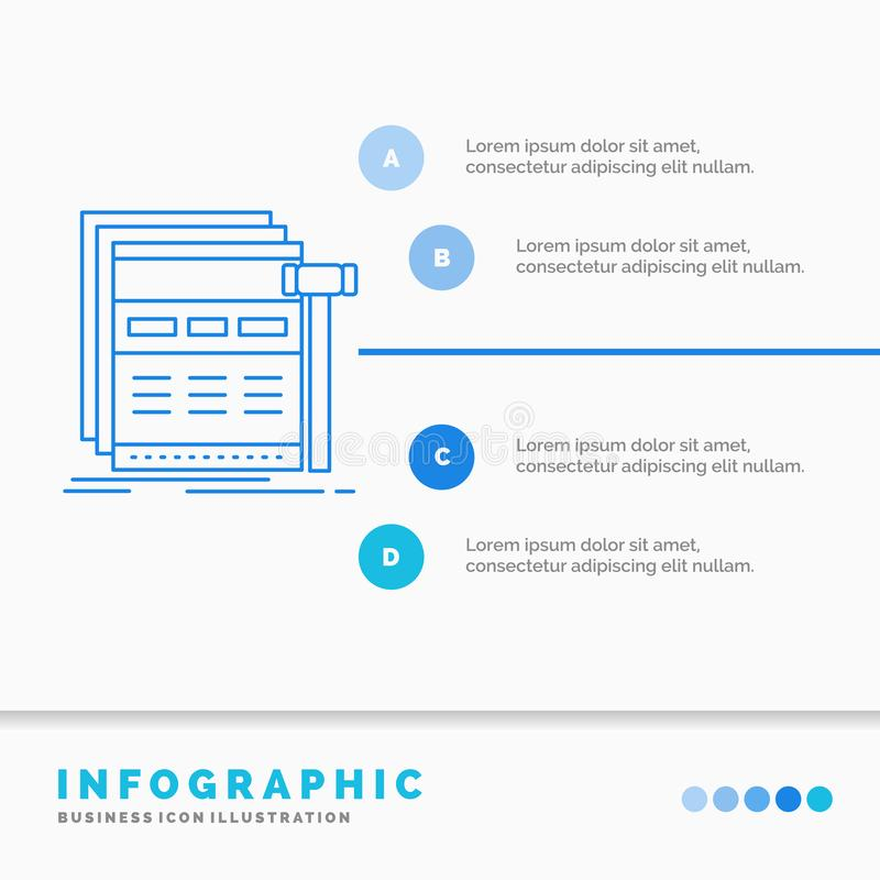 Internet, page, web, webpage, wireframe Infographics Template for Website and Presentation. Line Blue icon infographic style. Vector illustration. Vector EPS10 stock illustration