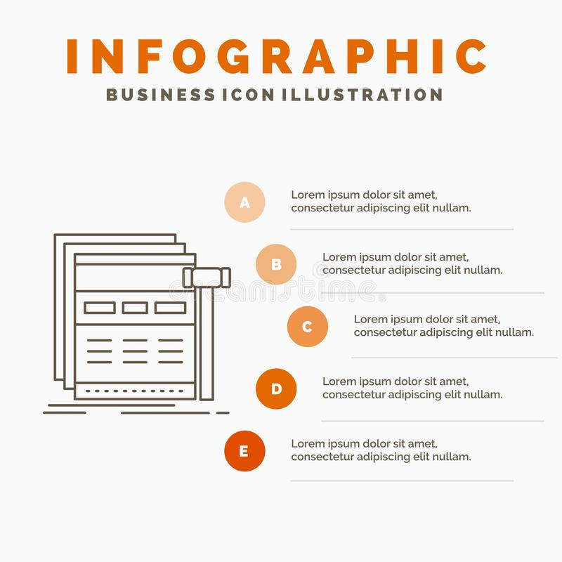 Internet, page, web, webpage, wireframe Infographics Template for Website and Presentation. Line Gray icon with Orange infographic. Style vector illustration royalty free illustration