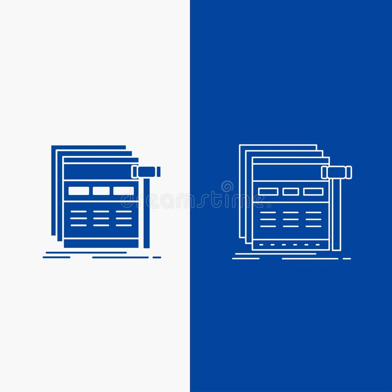 Internet, page, web, webpage, wireframe Line and Glyph web Button in Blue color Vertical Banner for UI and UX, website or mobile. Application. Vector EPS10 stock illustration
