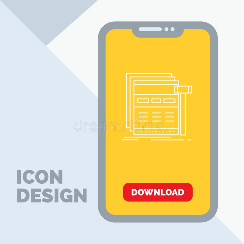 Internet, page, web, webpage, wireframe Line Icon in Mobile for Download Page. Vector EPS10 Abstract Template background stock illustration