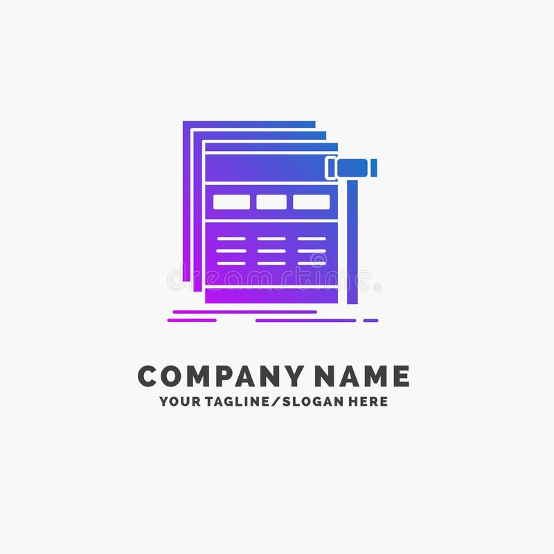 Internet, page, web, webpage, wireframe Purple Business Logo Template. Place for Tagline. Vector EPS10 Abstract Template background royalty free illustration