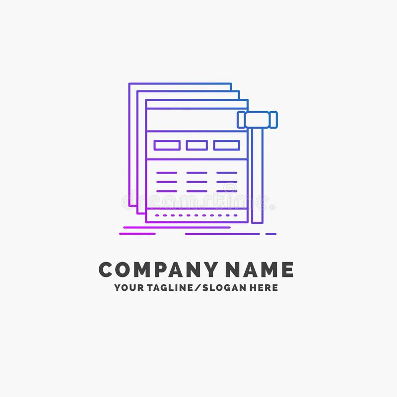 Internet, page, web, webpage, wireframe Purple Business Logo Template. Place for Tagline. Vector EPS10 Abstract Template background stock illustration