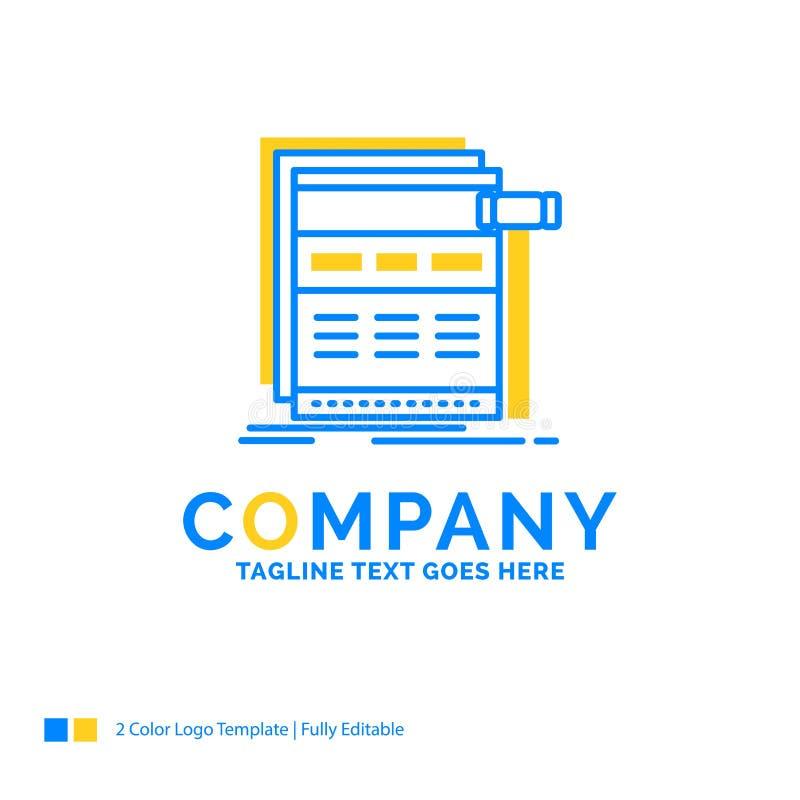 Internet, pagina, Web, webpagina, wireframe Blauw Geel Bedrijfslogboek vector illustratie