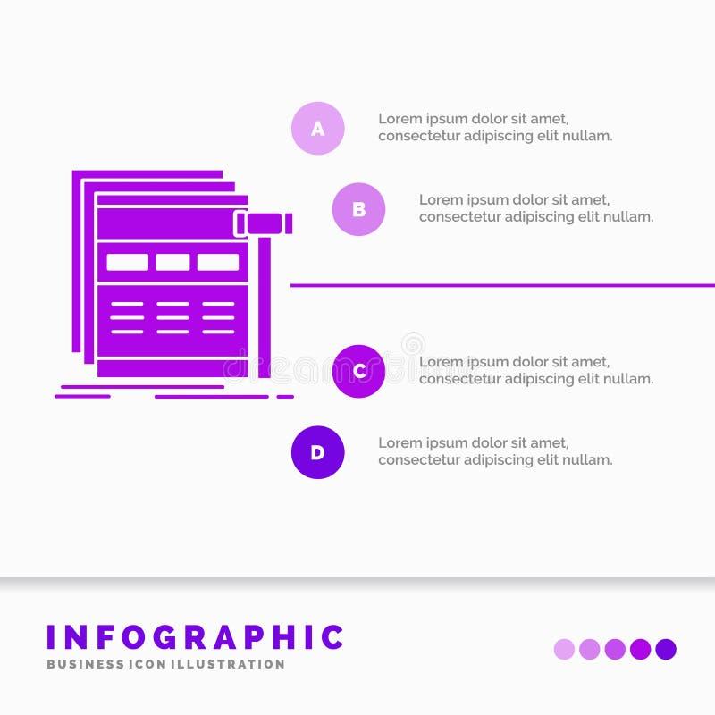 Internet, pagina, Web, webpagina, wireframe Infographics-Malplaatje voor Website en Presentatie Infographic stijl van het GLyph d vector illustratie