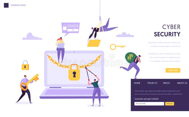 Internet Password Security Concept Landing Page. Man Steal Secure Finance Data from Laptop. Internet Hacker Attack. Computer Protection Technology Website or royalty free illustration