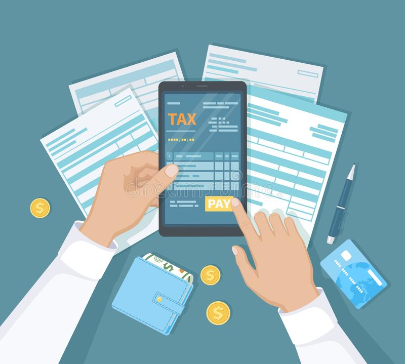 Internet Payment of taxes, invoice, bill, banking. Man hand holding the phone and presses the pay button. Online Paying. Financial accounting. Documents, forms stock illustration