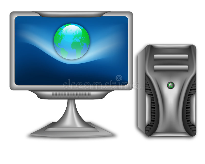 Internet PC. A metaphorical illustration of a computer with a flat wide-screen connected to the internet, isolated on a white background vector illustration