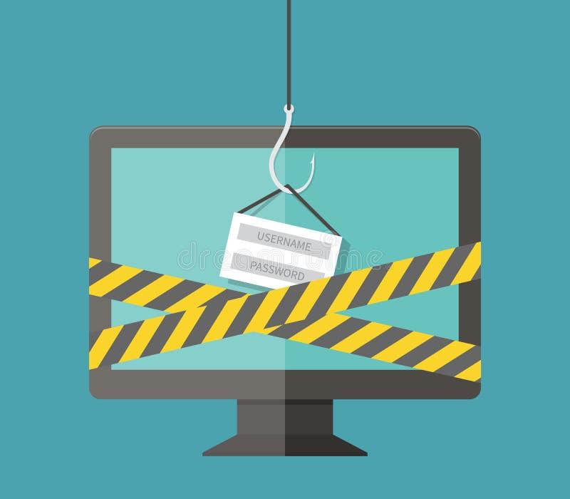 Internet Phishing, cortando o início de uma sessão e a senha, ilustração do vetor