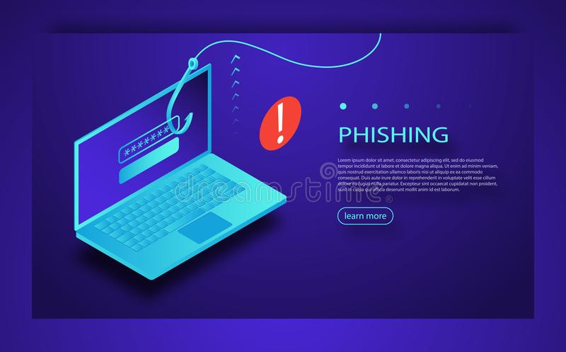 Internet phishing, hacked login and password. Phishing scam, hacker attack and web security concept. Online scam and steal. Cyber account attack. Online vector illustration