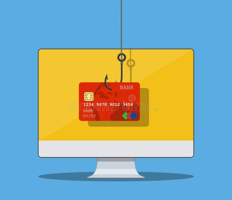 Internet phishing and hacking attack concept. Email spoofing and personal information security background. internet attack on credit card. vector illustration royalty free illustration
