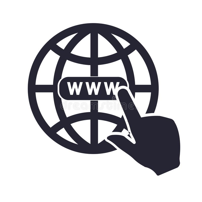 Internet-pictogram vectordieteken en symbool op witte achtergrond, Internet-embleemconcept wordt geïsoleerd stock illustratie