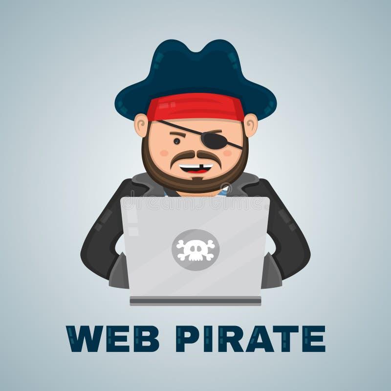 Internet-piraat met een laptop computer vector vlak geïsoleerde karakterillustratie Web en downloadinhoudsconcept stock illustratie