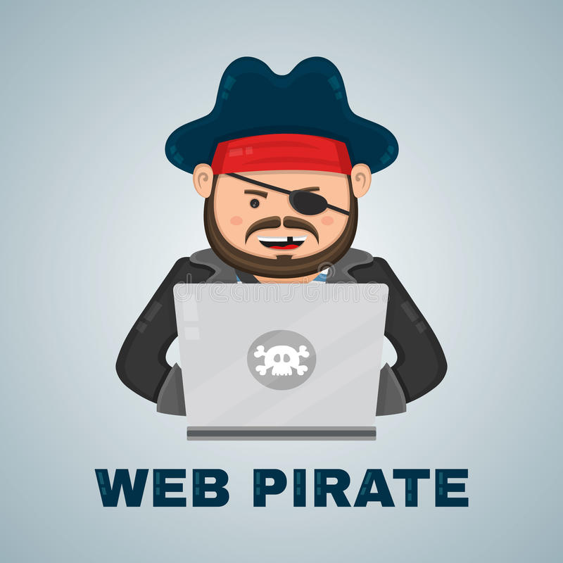 Internet pirate with a laptop computer. vector flat isolated character illustration. web and download content concept stock illustration