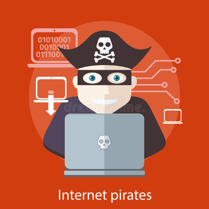 Internet piratea concepto libre illustration