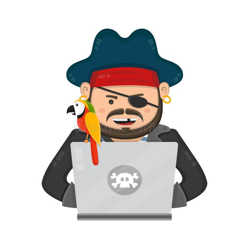 Internet piratkopierar med en bärbar datordator och papegoja stock illustrationer