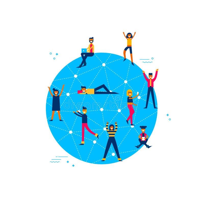 Internet-Planet mit den Leuten weltweit angeschlossen vektor abbildung
