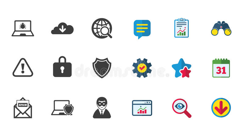 Internet privacy icons. Cyber crime signs. stock illustration