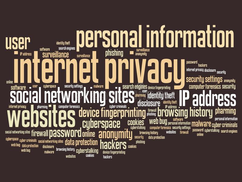 Internet privacy. Issues and concepts word cloud illustration. Word collage concept royalty free illustration