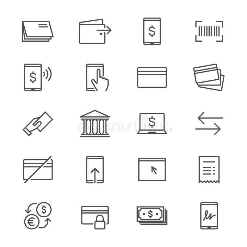 Internet que deposita iconos finos stock de ilustración