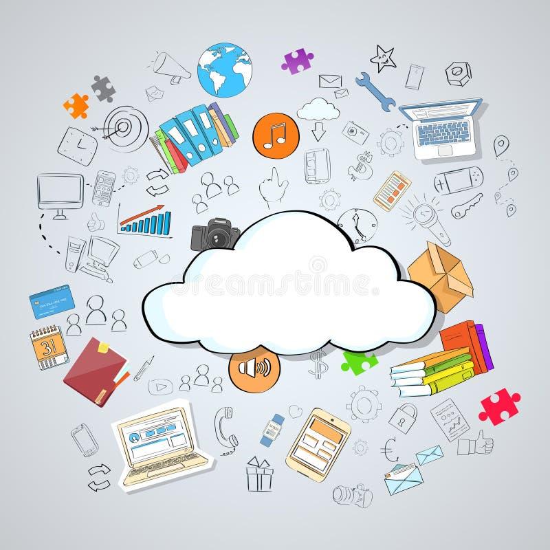 Internet réglé de dispositif de technologie informatique de nuage illustration stock