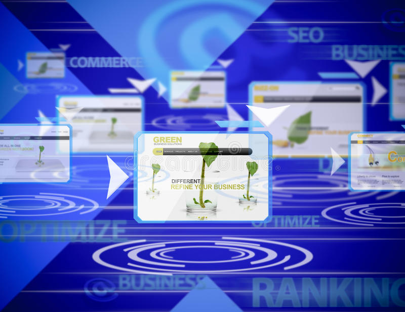 Internet ranking. Conceptual business background about internet rankings stock illustration