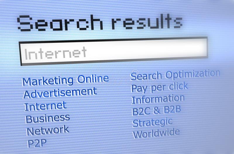 Internet-Rechercheresultate lizenzfreie abbildung