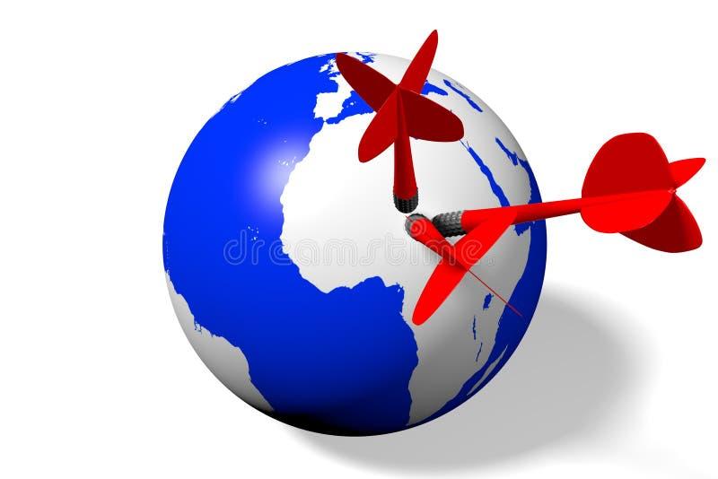 Internet, red, global, tierra, dardos ilustración del vector