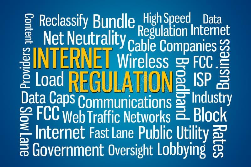 Internet Regulation. Word cloud with blue background stock illustration