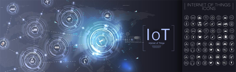 Internet rzeczy Futurystyczny Iot technologii pojęcie 3d poj?cie zwi?zek przygotowywa mechanizm wektorowe IoT ikony royalty ilustracja