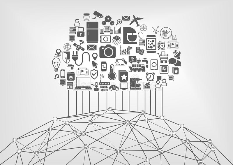 Internet rzeczy i obłoczny oblicza pojęcie dla związanych przyrządów w internecie (IOT) ilustracji